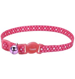 "Coastal 3/8"" Safety Cat Collar Pink Dots 12"""