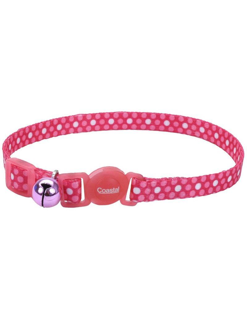 """Coastal Cat Collar Pink Dots 3/8""""W 12""""L"""