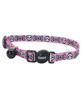 "Coastal 3/8"" Safety Cat Collar Pink Skulls 12"""