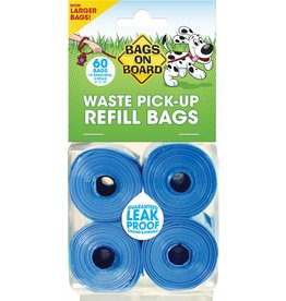 Bags on Board 9×14in Poop Bag Refills - 60 Blue Bags