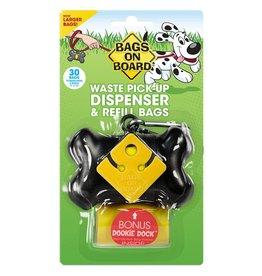 Bags on Board Poop Bag Dispenser with 30 Bags - Black Bone