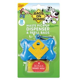 Bags on Board Poop Bag Dispenser with 30 Bags - Blue Bone
