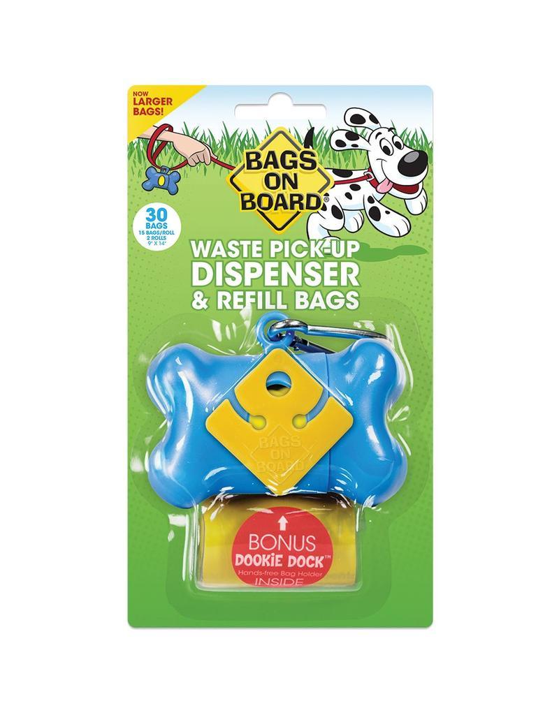 Bags on Board Poop Bag Dispenser with 30 Bags - Blue Bone