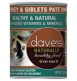 Dave's Cat Naturally Healthy Turkey & Giblets Pate' 12.5oz
