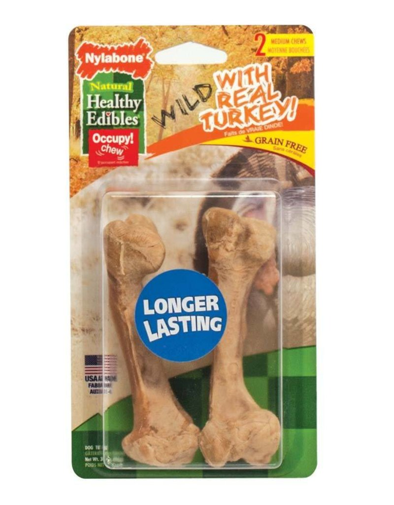 Nylabone Healthy Edibles Wild Turkey Medium 2ct
