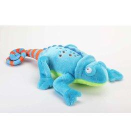 GoDog Amphibianz Chameleon with Chew Guard Technology Tough Plush Dog Toy