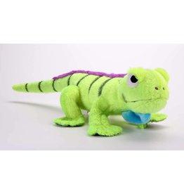 GoDog Amphibianz Iguana with Chew Guard Technology Tough Plush Dog Toy