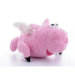 GoDog Checkers Flying Pig with Chew Guard Technology Tough Plush Dog Toy Small