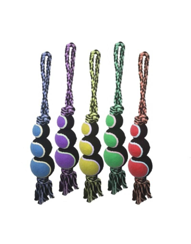 Multipet Nuts for Knots 2-Knot Rope  with 3 Tennis Balls