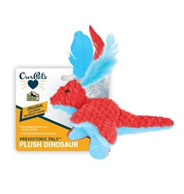 OurPets Prehistoric Pal Red Textured Squeaking Dinosaur Plush Feathered Toy