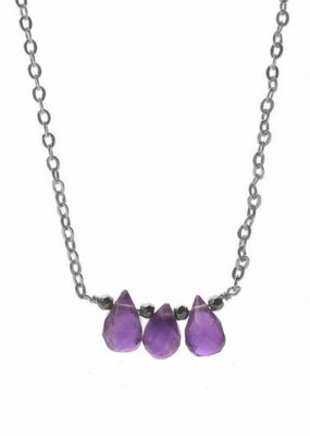 Less is More Sterling Silver Triple Amethyst Necklace