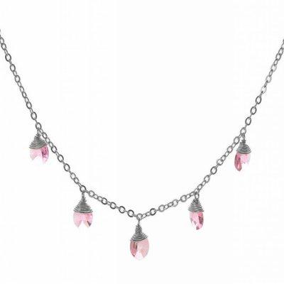 Less is More Sterling Silver Rose Swarovski Confetti Necklace