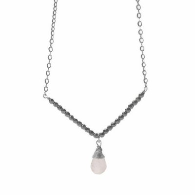 Less is More Sterling Silver Moonstone V Necklace