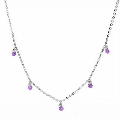 Less is More Sterling Silver Amethyst Confetti Necklace
