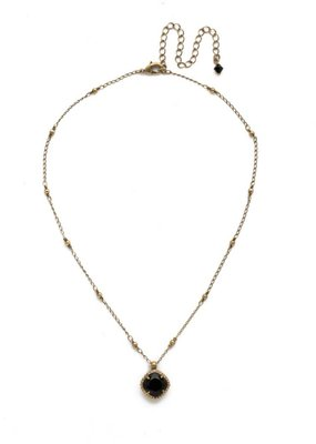 Sorrelli Cushion-Cut Solitaire Antique Gold Tone Necklace in Jet
