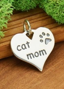 Sterling Silver Heart Cat Mom Charm