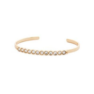 Sorrelli Dotted Line Bright Gold Petite Cuff Bracelet with Round Crystals