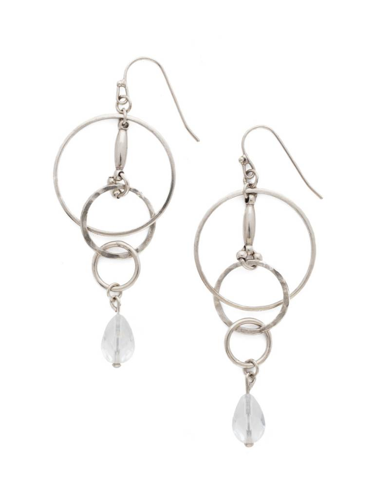 """Sorrelli Interlocking Circles Antique Silver 2 3/4"""" Earrings with a Crystal Bead"""