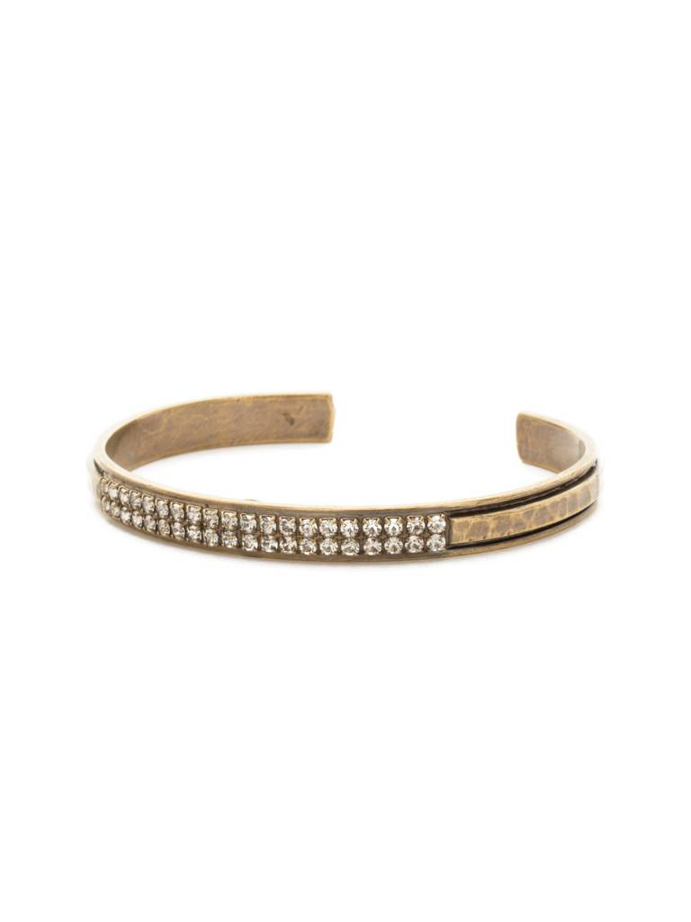 """Sorrelli All Lined Up 1/4"""" Antique Gold Cuff Bracelet with Crystals"""