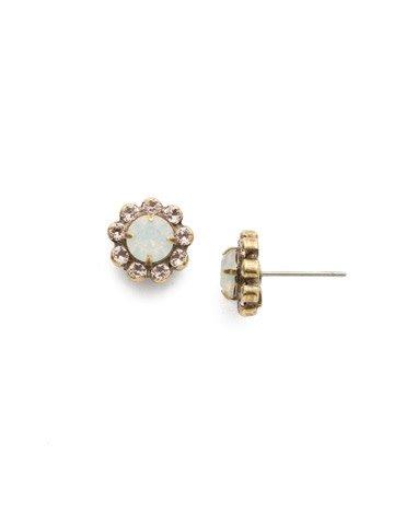 "Sorrelli Best Bud 3//8""  Antique Gold White Opal Earring"