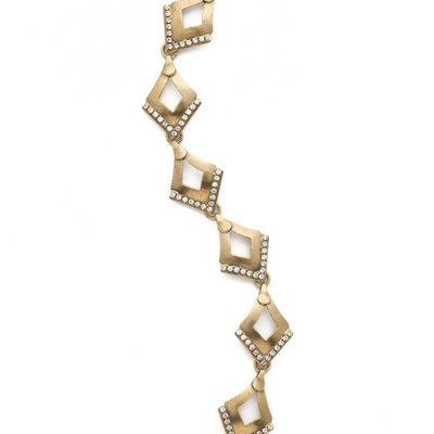 Sorrelli Tri to Love Antiqued Gold Bracelet with Triangle Pendants