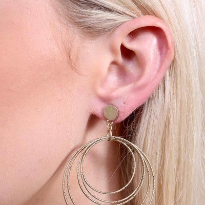 Caroline Hill Nampa Post Drop Multi Hoop Earring- Gold