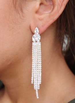 Caroline Hill Val Rhinestone Post Drop Earrings- Silver