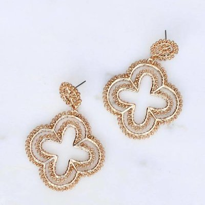 Caroline Hill Pash Post Drop Beaded Quarterfoil Earring- Gold