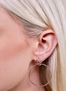 Caroline Hill Knotted Post and Hoop Drop Earring- Rose Gold