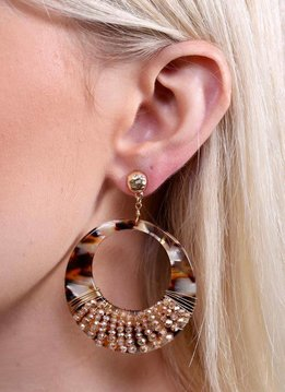 Caroline Hill Verona Post Drop Wire Wrapped Resin Hoop Earring w Glass Beading- Brown