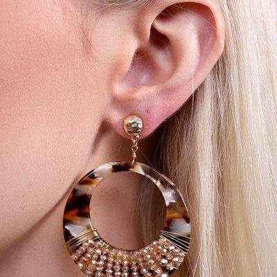 Caroline Hill Verona Post Drop Wire Wrapped Resin Hoop Earring w Glass Beading- Brown