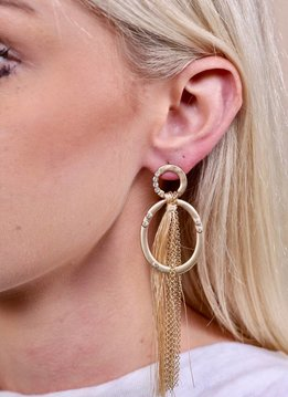Caroline Hill Delton Metal & CZ Post Drop Earring w Chain & Fabric Tassel Drop- Natural