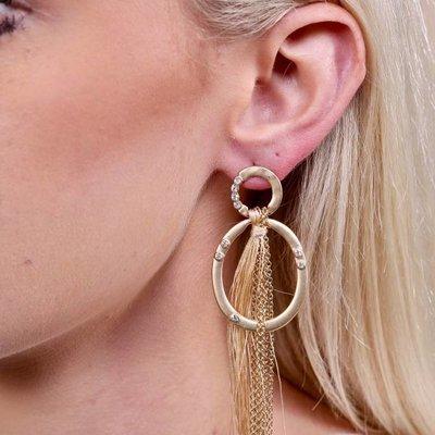 Caroline Hill Delton Metal & CZ Post Drop Earring w Chain & Fabric Tassel Drop- Natural