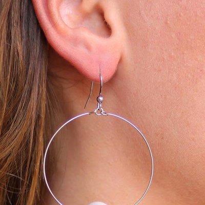 Caroline Hill Pedma Hoop Earring w Pearl Center- Silver