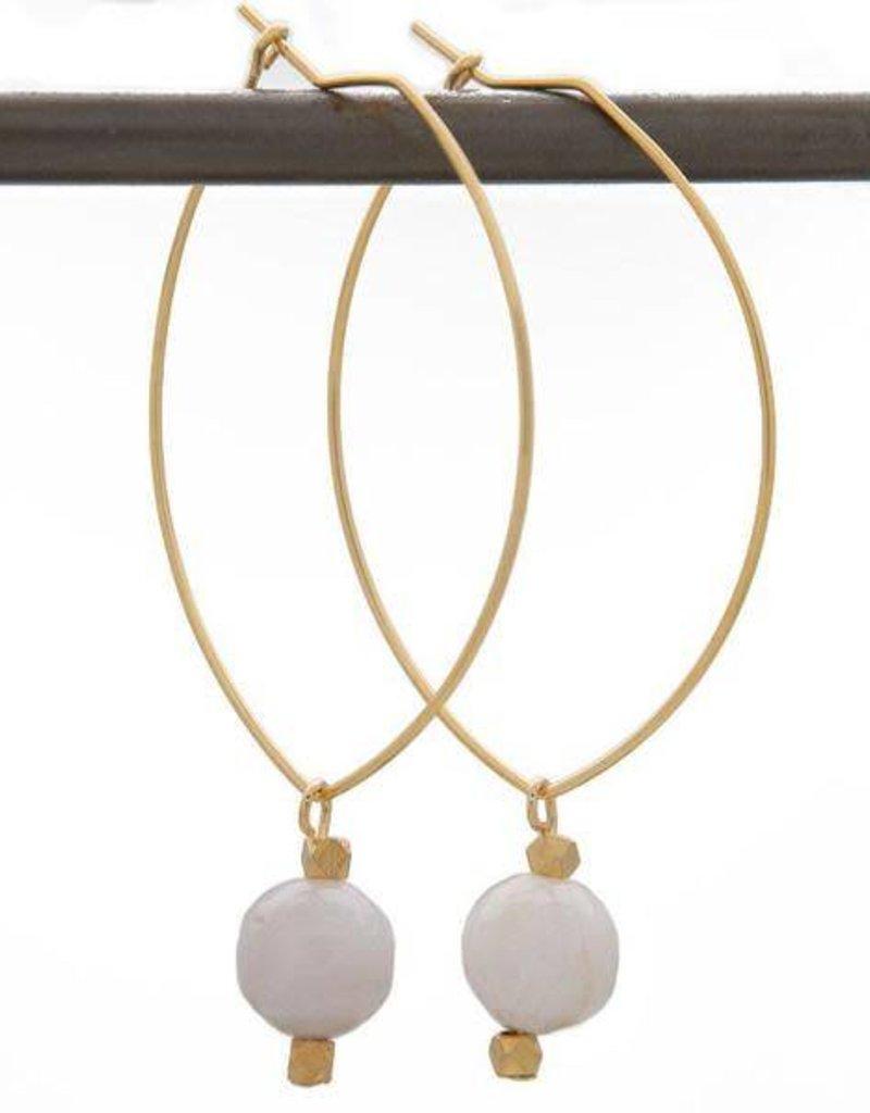Lenny & Eva BE THANKFUL. Lenny Gemstone Earrings, Gray Agate