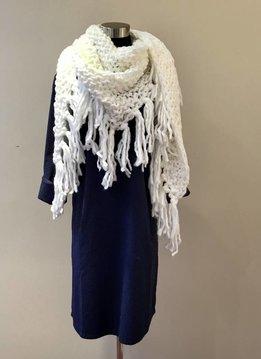 Oversized Knit Tassel Triangle Scarf Ivory