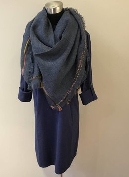 Frayed Edge Trim Blanket Scarf Blue