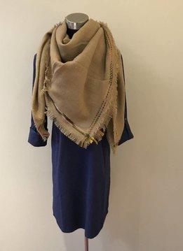 Frayed Edge Trim Blanket Scarf Tan
