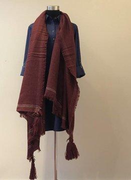 Tassel Corner Frayed Trim Blanket Scarf Burgundy