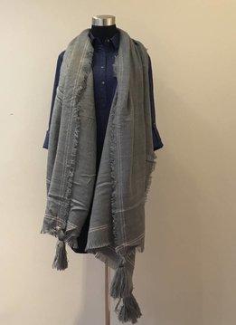 Tassel Corner Frayed Trim Blanket Scarf Gray