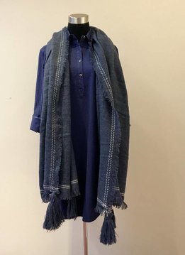 Tassel Corner Frayed Trim Blanket Scarf Blue