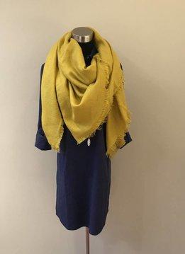 Oversized Knit Tassel Triangle Scarf Mustard