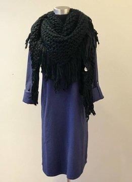 Oversized Knit Tassel Triangle Scarf Black