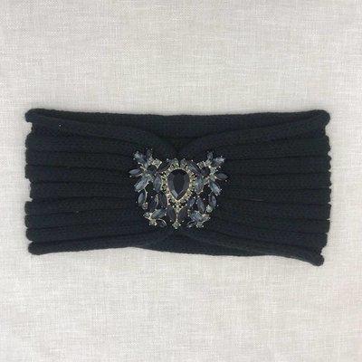 C.C. Black Rhinestone CC Headwrap