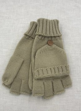 Cheveux Corp. Camel Knit Open Finger Glove with Cover