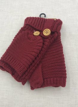 Cheveux Corp. Burgundy Knit Open Finger Glove with Cover