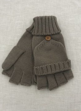 Cheveux Corp. Taupe Knit Open Finger Glove with Cover