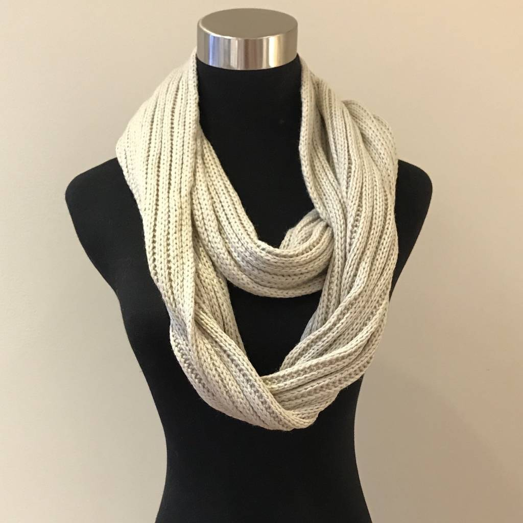 Cheveux Corp. Beige Ribbed Infinity CC Scarf