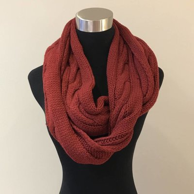 Red Cable Knit Infinity Scarf