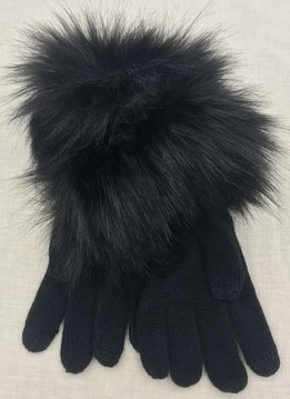 Cheveux Corp. Black Knit Gloves with Fur